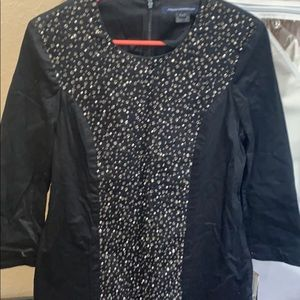 French connection black beaded dress sz 8 NEW